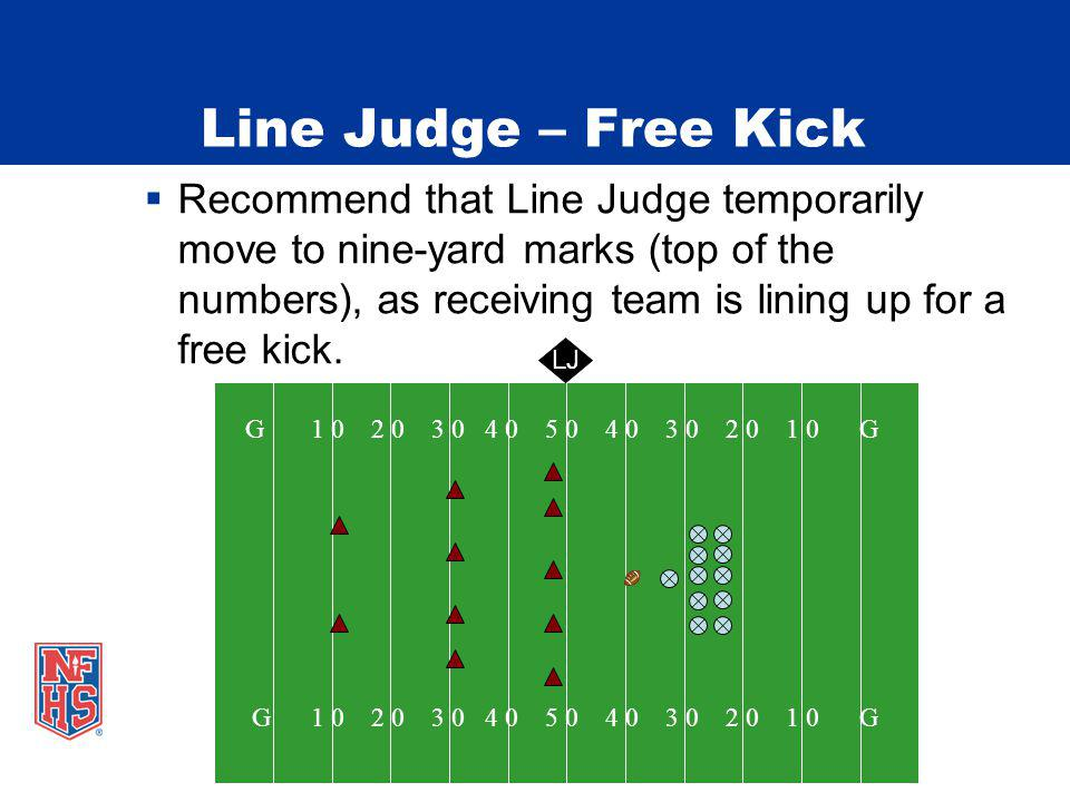 Line Judge – Free Kick Recommend that Line Judge temporarily move to nine-yard marks (top of the numbers), as receiving team is lining up for a free kick.
