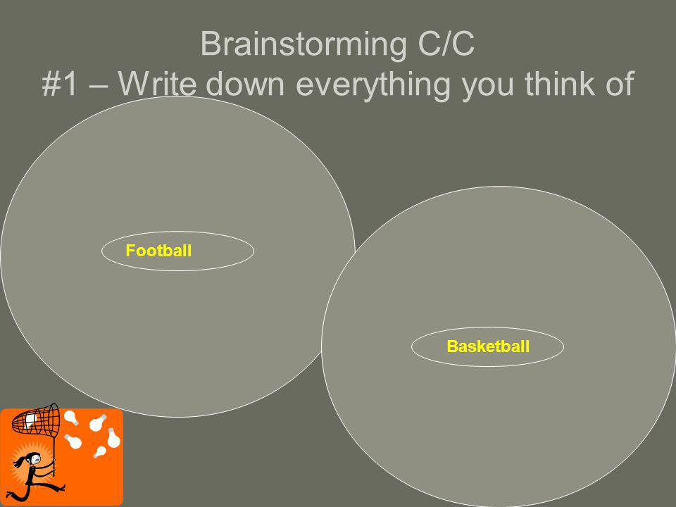 Brainstorming C/C #1 – Write down everything you think of Football Basketball
