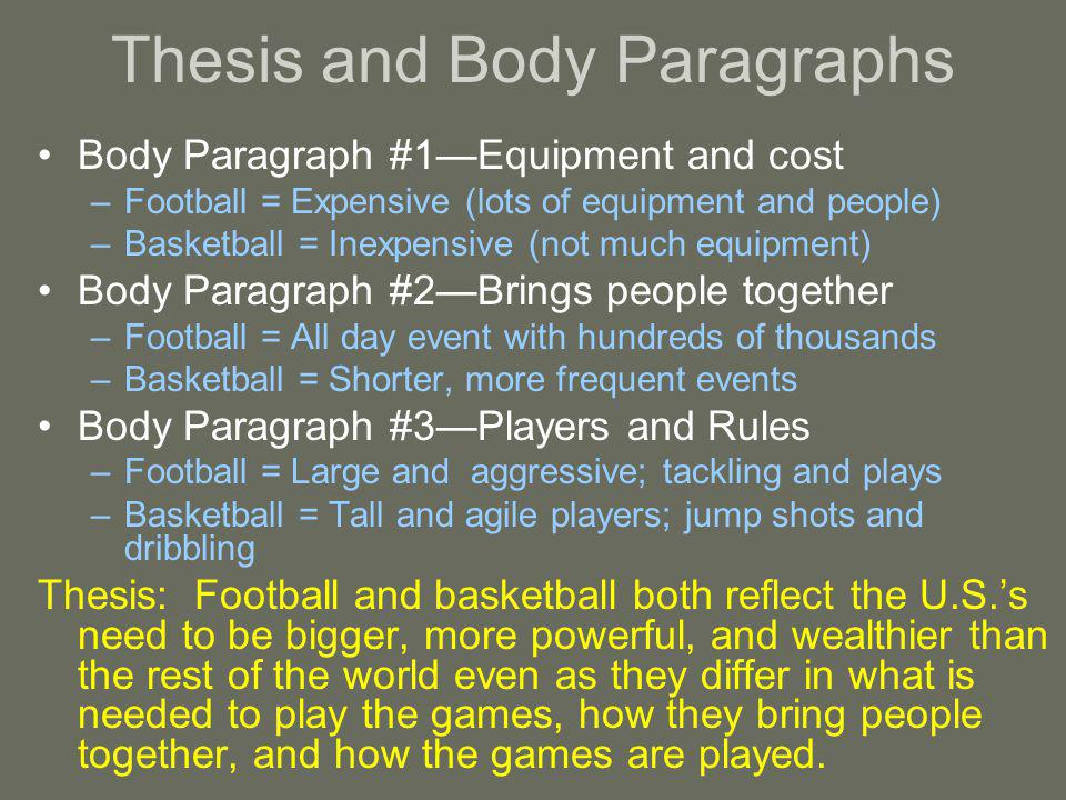 Thesis and Body Paragraphs Body Paragraph #1Equipment and cost –Football = Expensive (lots of equipment and people) –Basketball = Inexpensive (not much equipment) Body Paragraph #2Brings people together –Football = All day event with hundreds of thousands –Basketball = Shorter, more frequent events Body Paragraph #3Players and Rules –Football = Large and aggressive; tackling and plays –Basketball = Tall and agile players; jump shots and dribbling Thesis: Football and basketball both reflect the U.S.s need to be bigger, more powerful, and wealthier than the rest of the world even as they differ in what is needed to play the games, how they bring people together, and how the games are played.