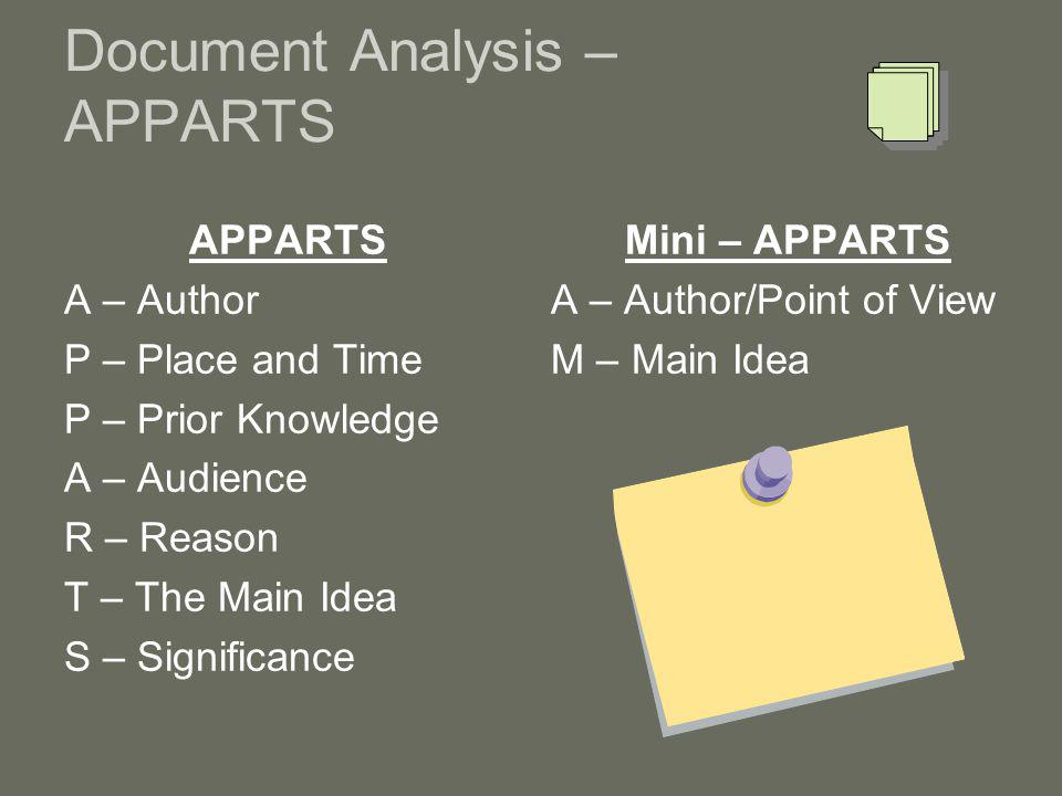 Document Analysis – APPARTS APPARTS A – Author P – Place and Time P – Prior Knowledge A – Audience R – Reason T – The Main Idea S – Significance Mini – APPARTS A – Author/Point of View M – Main Idea
