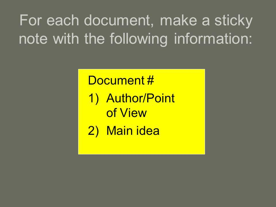 For each document, make a sticky note with the following information: Document # 1)Author/Point of View 2)Main idea