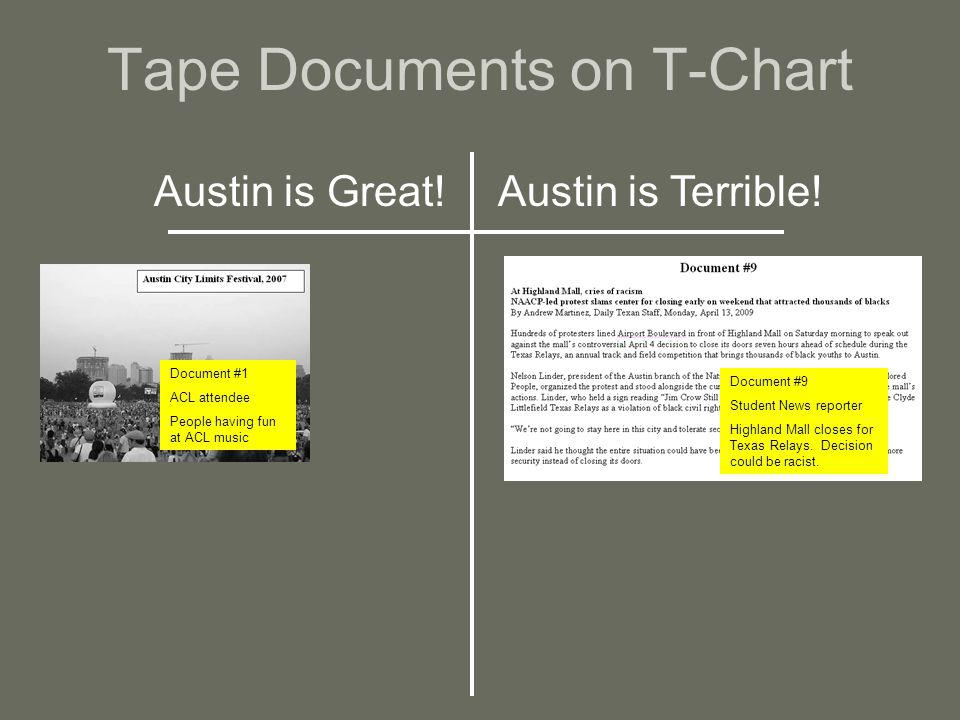 Tape Documents on T-Chart Austin is Great!Austin is Terrible.