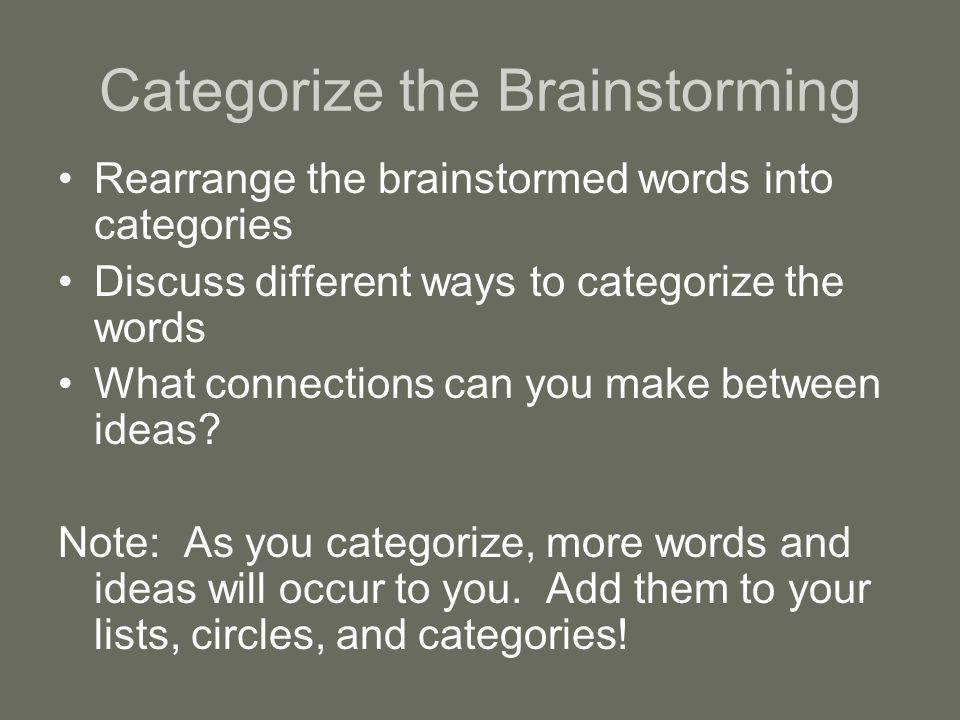 Categorize the Brainstorming Rearrange the brainstormed words into categories Discuss different ways to categorize the words What connections can you make between ideas.
