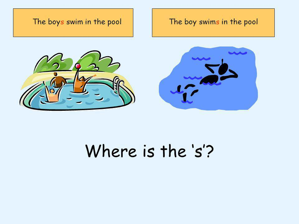 The boys swim in the poolThe boy swims in the pool Where is the s