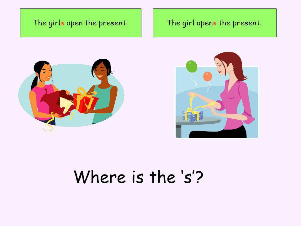 The girls open the present.The girl opens the present. Where is the s
