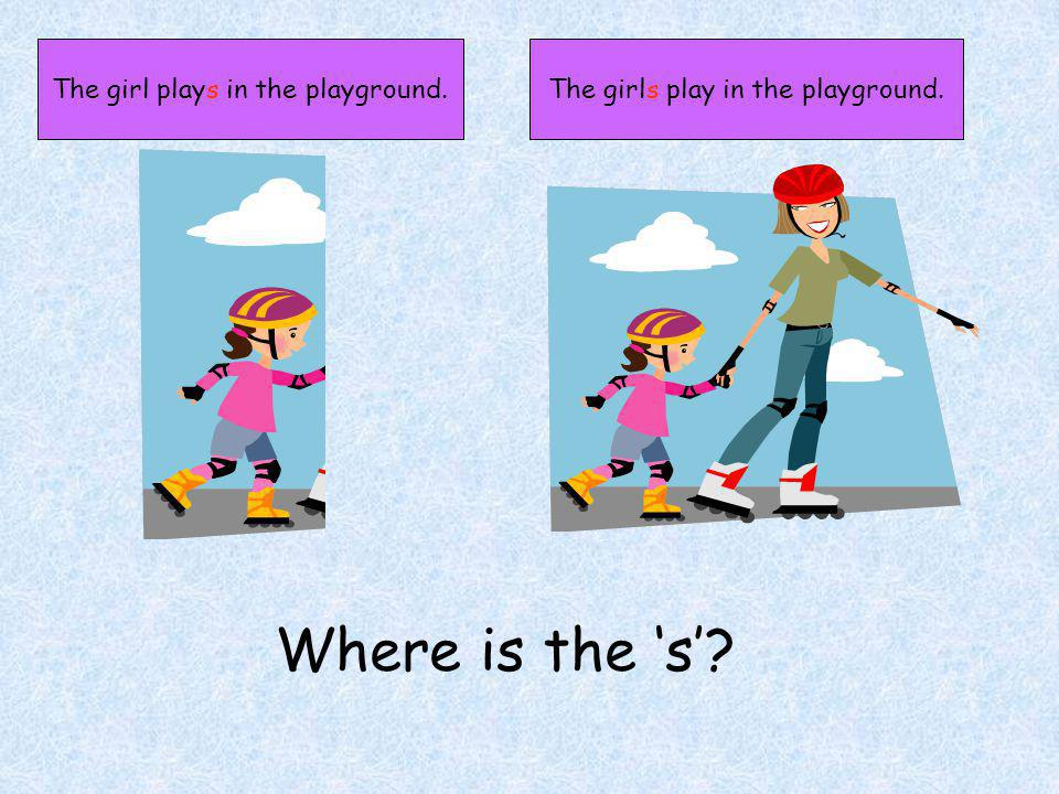 The girl plays in the playground.The girls play in the playground. Where is the s