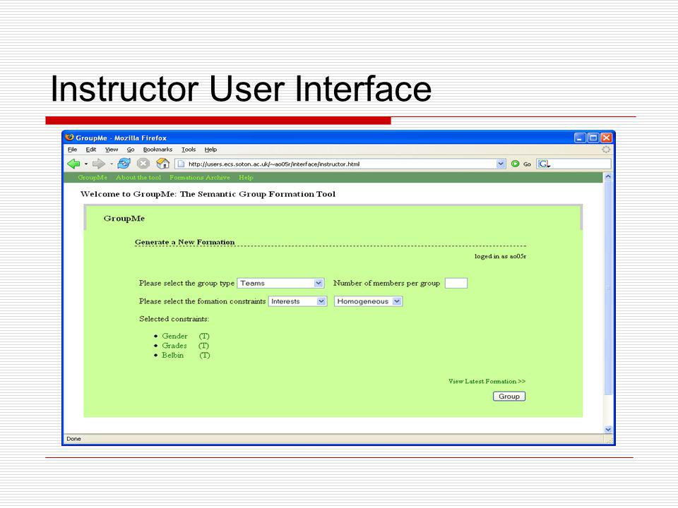 Instructor User Interface