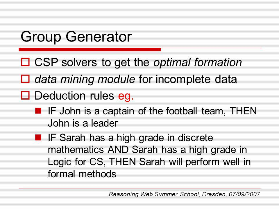 Group Generator CSP solvers to get the optimal formation data mining module for incomplete data Deduction rules eg.