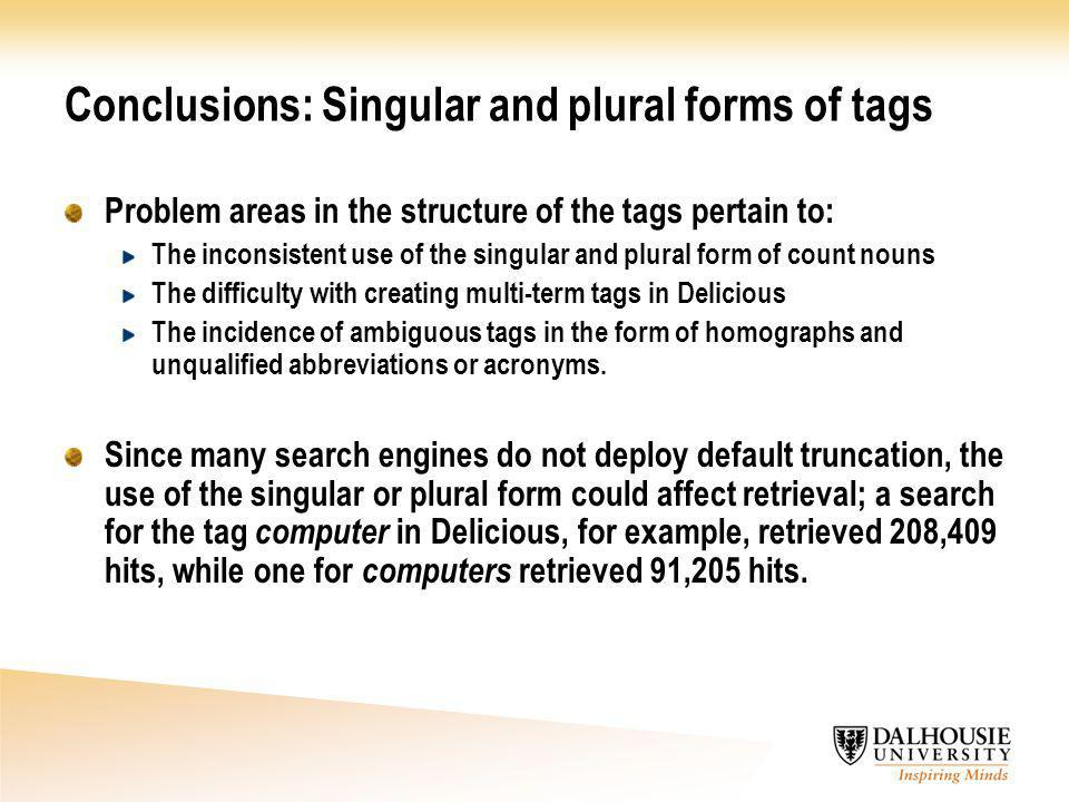 Conclusions: Singular and plural forms of tags Problem areas in the structure of the tags pertain to: The inconsistent use of the singular and plural form of count nouns The difficulty with creating multi-term tags in Delicious The incidence of ambiguous tags in the form of homographs and unqualified abbreviations or acronyms.