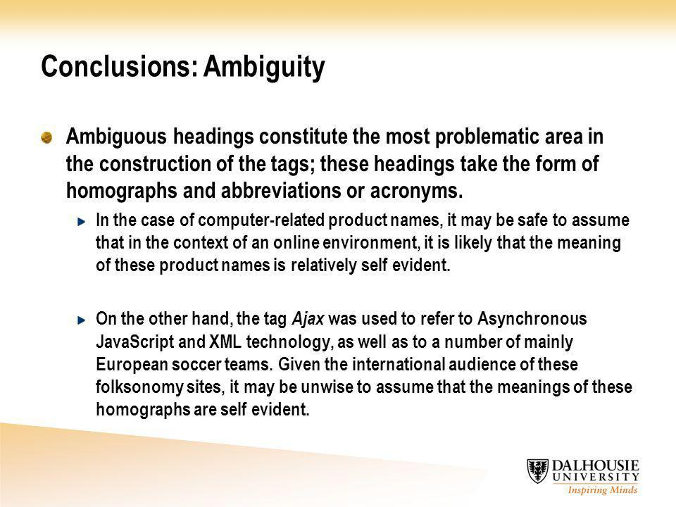 Conclusions: Ambiguity Ambiguous headings constitute the most problematic area in the construction of the tags; these headings take the form of homographs and abbreviations or acronyms.