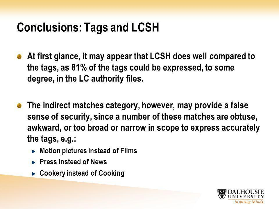 Conclusions: Tags and LCSH At first glance, it may appear that LCSH does well compared to the tags, as 81% of the tags could be expressed, to some degree, in the LC authority files.