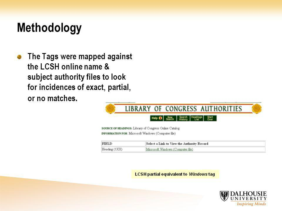 Methodology The Tags were mapped against the LCSH online name & subject authority files to look for incidences of exact, partial, or no matches.