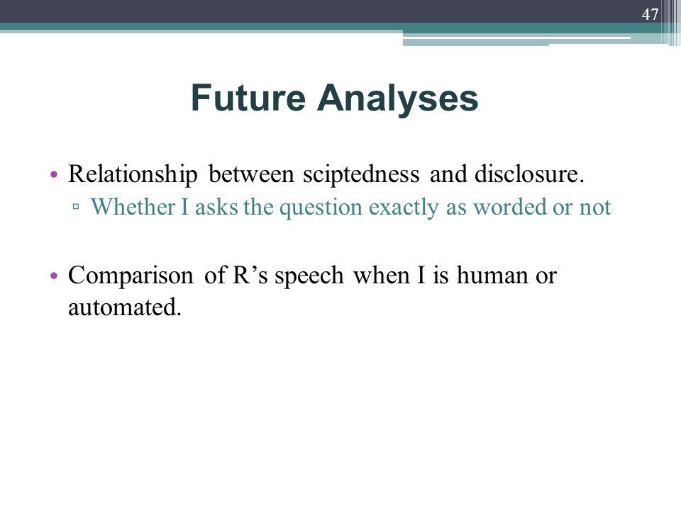 Relationship between sciptedness and disclosure.