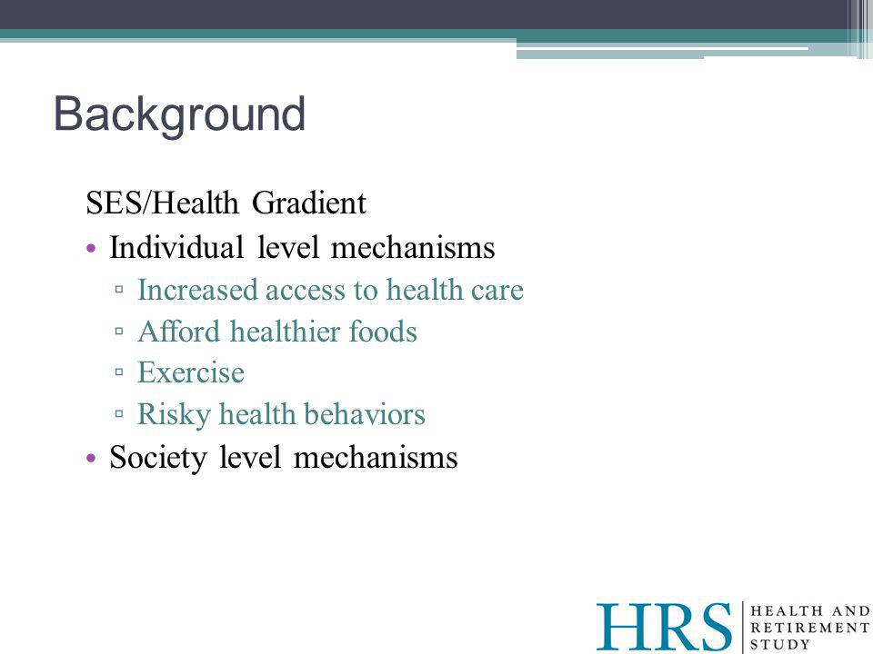 Background SES/Health Gradient Individual level mechanisms Increased access to health care Afford healthier foods Exercise Risky health behaviors Society level mechanisms