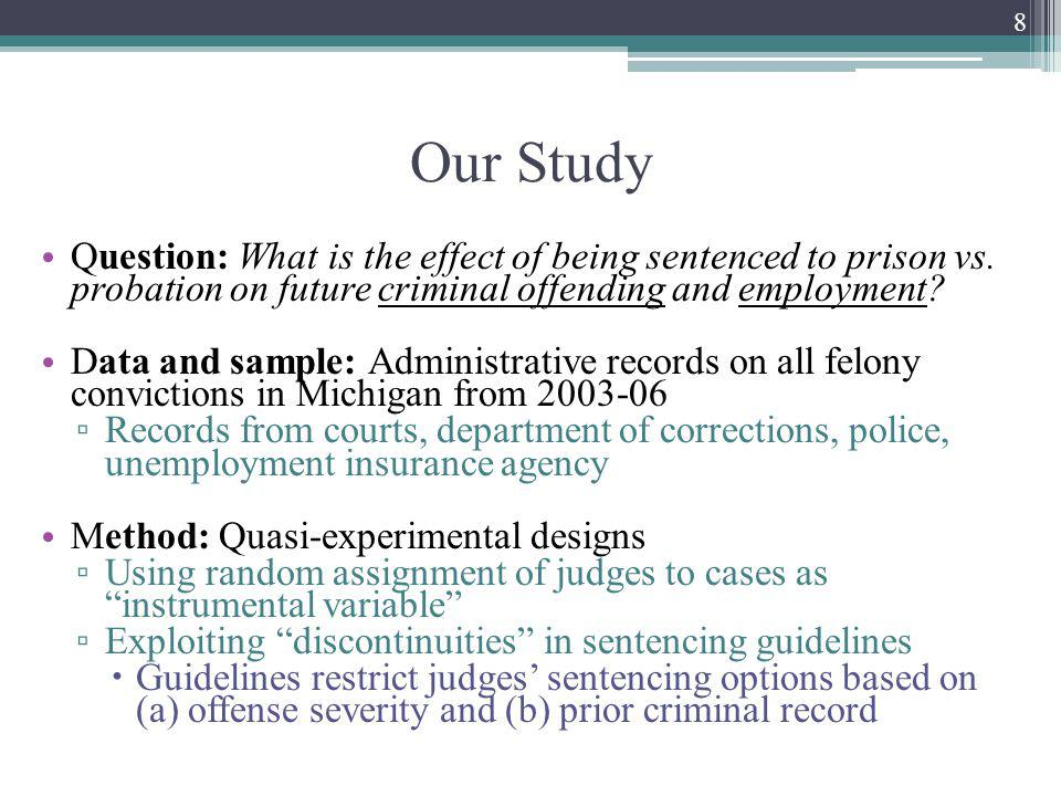 Our Study Question: What is the effect of being sentenced to prison vs.