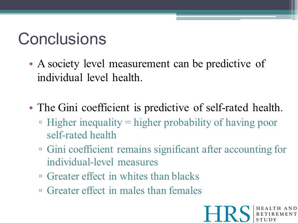 A society level measurement can be predictive of individual level health.