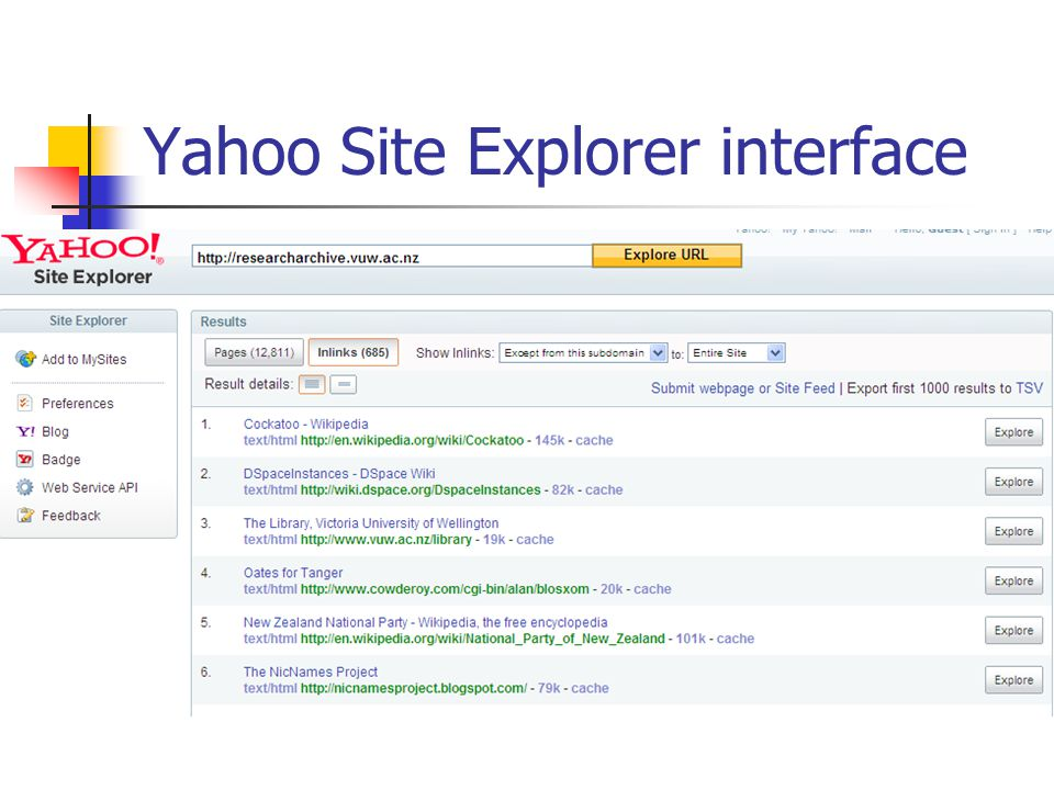 Yahoo Site Explorer interface