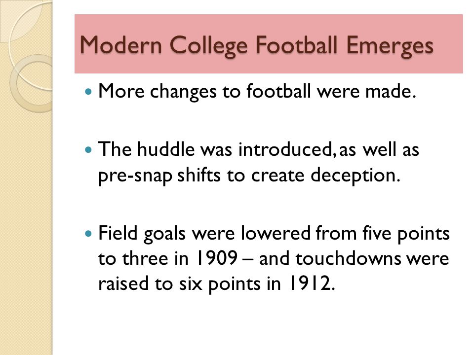 Modern College Football Emerges More changes to football were made.