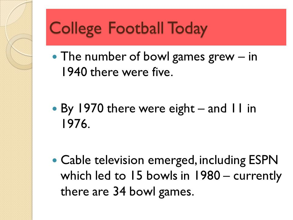College Football Today The number of bowl games grew – in 1940 there were five.