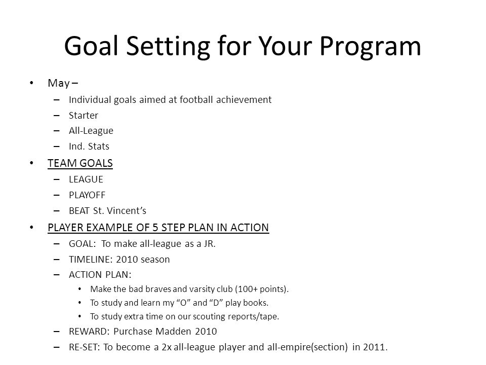 Goal Setting for Your Program May – – Individual goals aimed at football achievement – Starter – All-League – Ind.