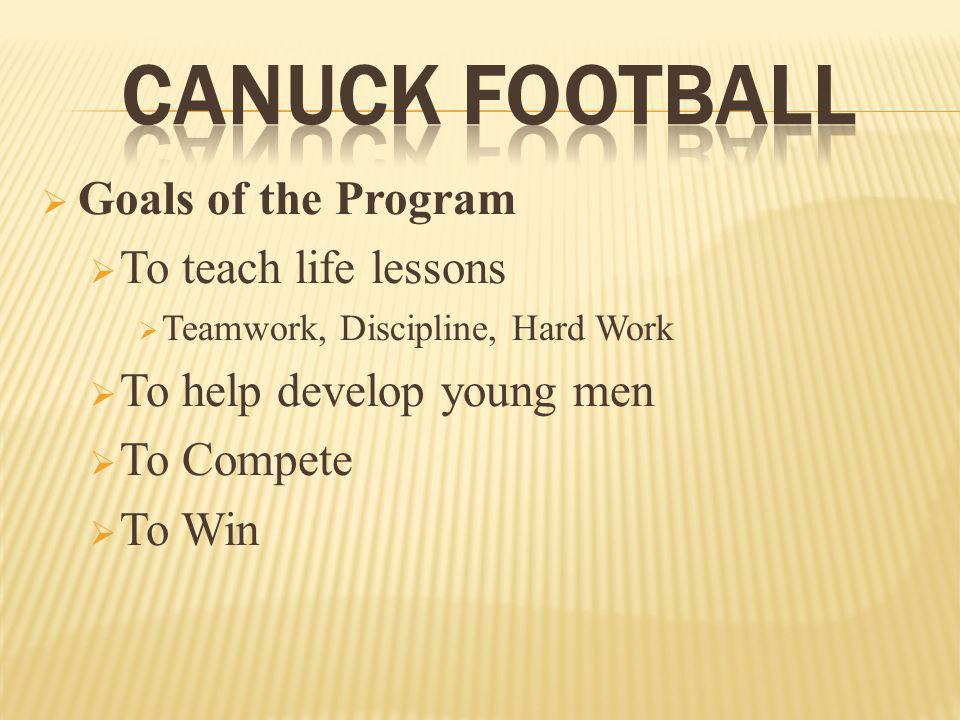 Goals of the Program To teach life lessons Teamwork, Discipline, Hard Work To help develop young men To Compete To Win