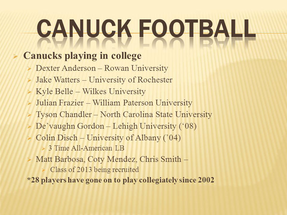 Canucks playing in college Dexter Anderson – Rowan University Jake Watters – University of Rochester Kyle Belle – Wilkes University Julian Frazier – William Paterson University Tyson Chandler – North Carolina State University Devaughn Gordon – Lehigh University (08) Colin Disch – University of Albany (04) 3 Time All-American LB Matt Barbosa, Coty Mendez, Chris Smith – Class of 2013 being recruited *28 players have gone on to play collegiately since 2002
