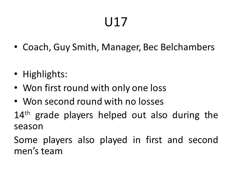 U17 Coach, Guy Smith, Manager, Bec Belchambers Highlights: Won first round with only one loss Won second round with no losses 14 th grade players helped out also during the season Some players also played in first and second mens team