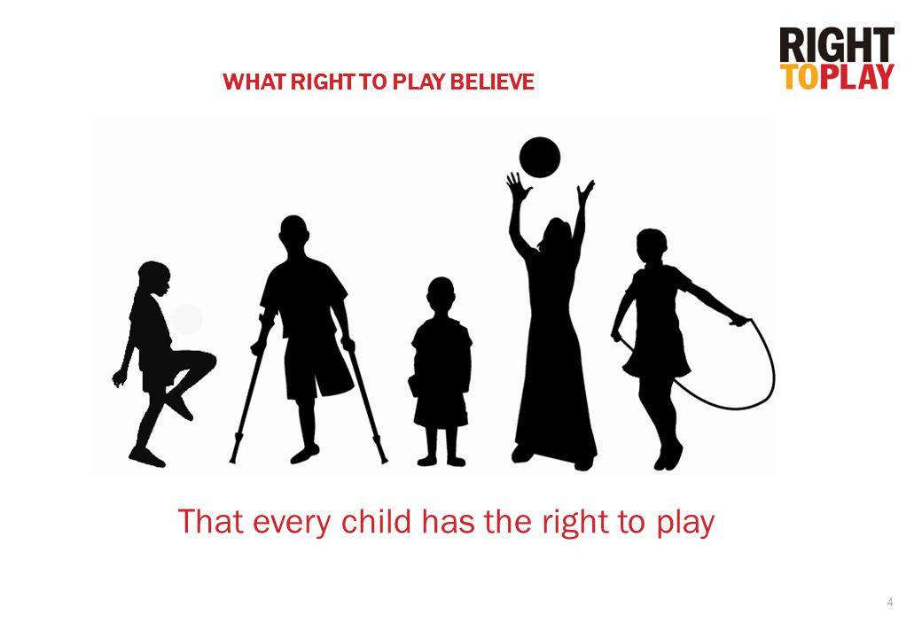 4 WHAT RIGHT TO PLAY BELIEVE That every child has the right to play
