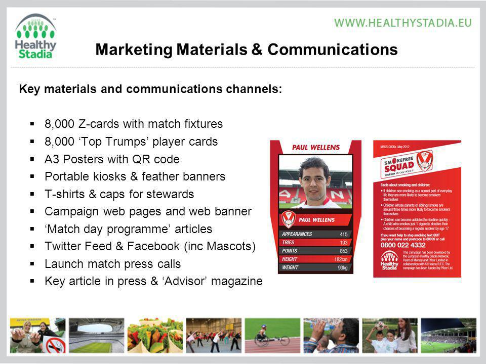 Marketing Materials & Communications Key materials and communications channels: 8,000 Z-cards with match fixtures 8,000 Top Trumps player cards A3 Posters with QR code Portable kiosks & feather banners T-shirts & caps for stewards Campaign web pages and web banner Match day programme articles Twitter Feed & Facebook (inc Mascots) Launch match press calls Key article in press & Advisor magazine