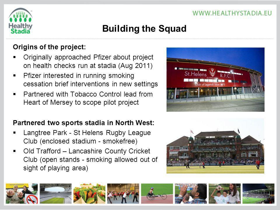 Building the Squad Origins of the project: Originally approached Pfizer about project on health checks run at stadia (Aug 2011) Pfizer interested in running smoking cessation brief interventions in new settings Partnered with Tobacco Control lead from Heart of Mersey to scope pilot project Partnered two sports stadia in North West: Langtree Park - St Helens Rugby League Club (enclosed stadium - smokefree) Old Trafford – Lancashire County Cricket Club (open stands - smoking allowed out of sight of playing area)