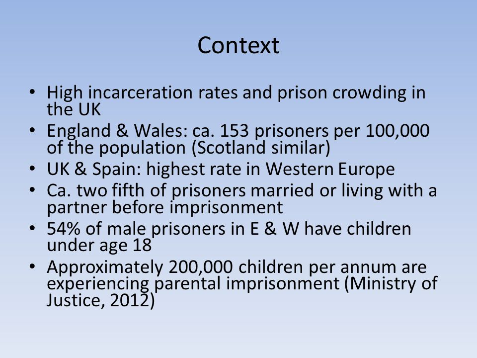 Context High incarceration rates and prison crowding in the UK England & Wales: ca.