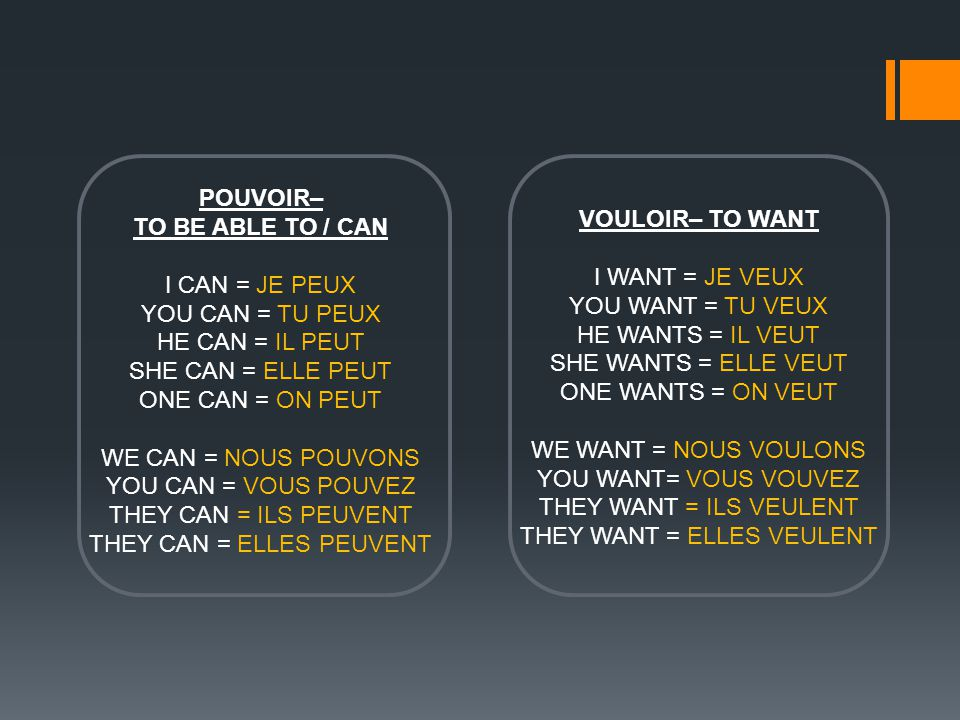 POUVOIR– TO BE ABLE TO / CAN I CAN = JE PEUX YOU CAN = TU PEUX HE CAN = IL PEUT SHE CAN = ELLE PEUT ONE CAN = ON PEUT WE CAN = NOUS POUVONS YOU CAN = VOUS POUVEZ THEY CAN = ILS PEUVENT THEY CAN = ELLES PEUVENT VOULOIR– TO WANT I WANT = JE VEUX YOU WANT = TU VEUX HE WANTS = IL VEUT SHE WANTS = ELLE VEUT ONE WANTS = ON VEUT WE WANT = NOUS VOULONS YOU WANT= VOUS VOUVEZ THEY WANT = ILS VEULENT THEY WANT = ELLES VEULENT