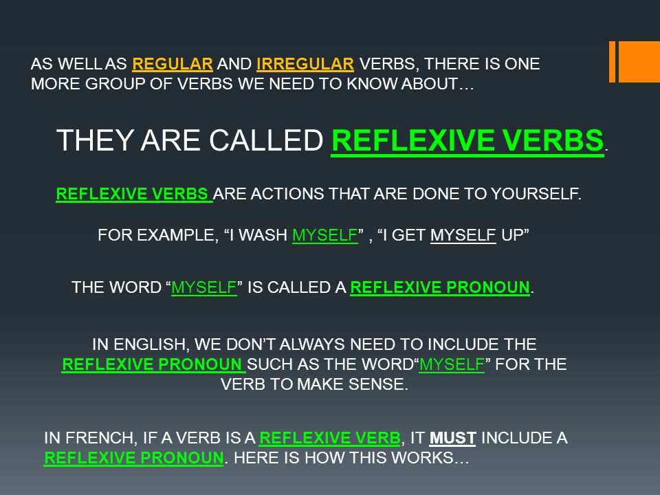 AS WELL AS REGULAR AND IRREGULAR VERBS, THERE IS ONE MORE GROUP OF VERBS WE NEED TO KNOW ABOUT… THEY ARE CALLED REFLEXIVE VERBS.