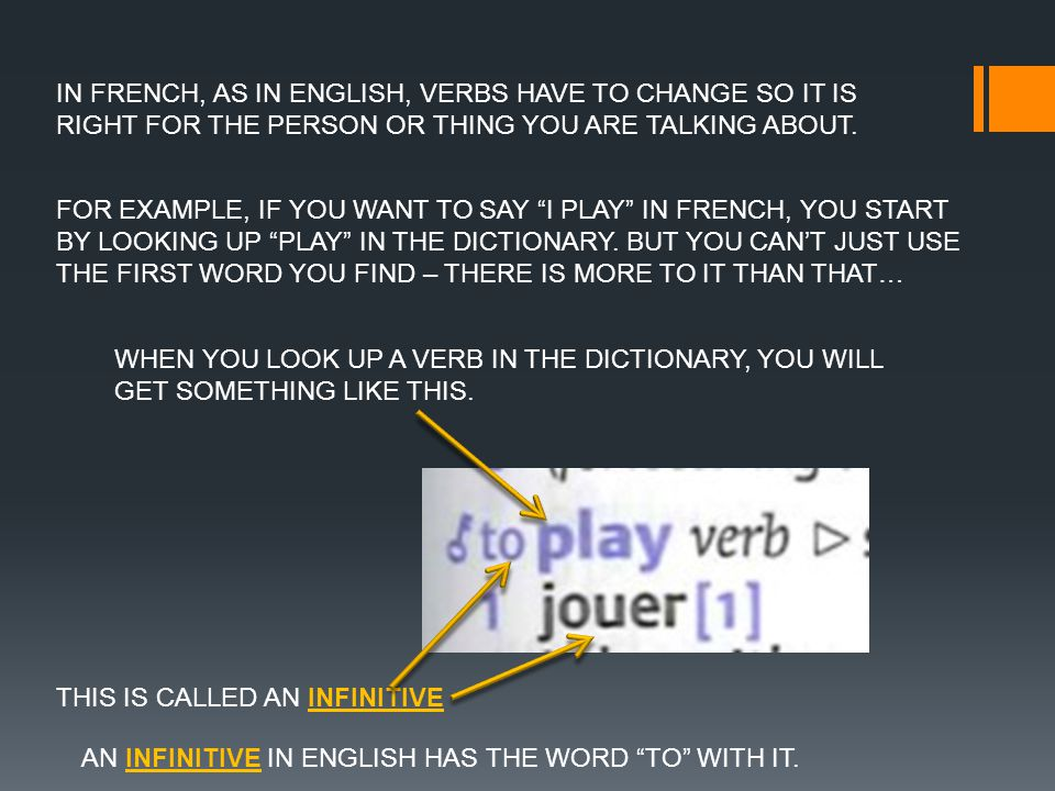 IN FRENCH, AS IN ENGLISH, VERBS HAVE TO CHANGE SO IT IS RIGHT FOR THE PERSON OR THING YOU ARE TALKING ABOUT.