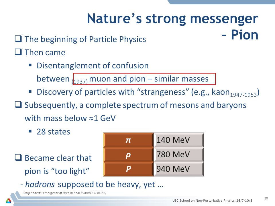Natures strong messenger – Pion Craig Roberts: Emergence of DSEs in Real-World QCD IB (87) 20 USC School on Non-Perturbative Physics: 26/7-10/8 The beginning of Particle Physics Then came Disentanglement of confusion between (1937) muon and pion – similar masses Discovery of particles with strangeness (e.g., kaon 1947-1953 ) Subsequently, a complete spectrum of mesons and baryons with mass below 1 GeV 28 states Became clear that pion is too light - hadrons supposed to be heavy, yet … π140 MeV ρ780 MeV P940 MeV