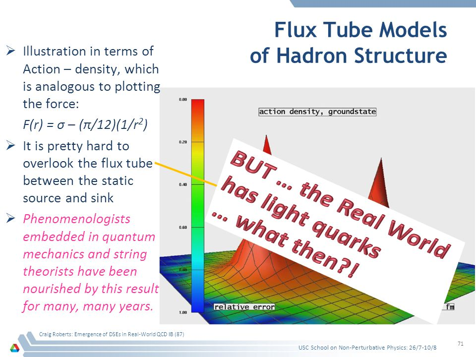 Flux Tube Models of Hadron Structure USC School on Non-Perturbative Physics: 26/7-10/8 Craig Roberts: Emergence of DSEs in Real-World QCD IB (87) 71 Illustration in terms of Action – density, which is analogous to plotting the force: F(r) = σ – (π/12)(1/r 2 ) It is pretty hard to overlook the flux tube between the static source and sink Phenomenologists embedded in quantum mechanics and string theorists have been nourished by this result for many, many years.