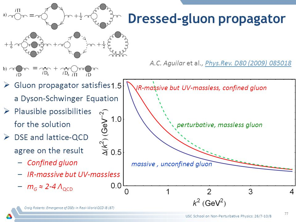 Dressed-gluon propagator Gluon propagator satisfies a Dyson-Schwinger Equation Plausible possibilities for the solution DSE and lattice-QCD agree on the result –Confined gluon –IR-massive but UV-massless –m G 2-4 Λ QCD Craig Roberts: Emergence of DSEs in Real-World QCD IB (87) 77 perturbative, massless gluon massive, unconfined gluon IR-massive but UV-massless, confined gluon A.C.