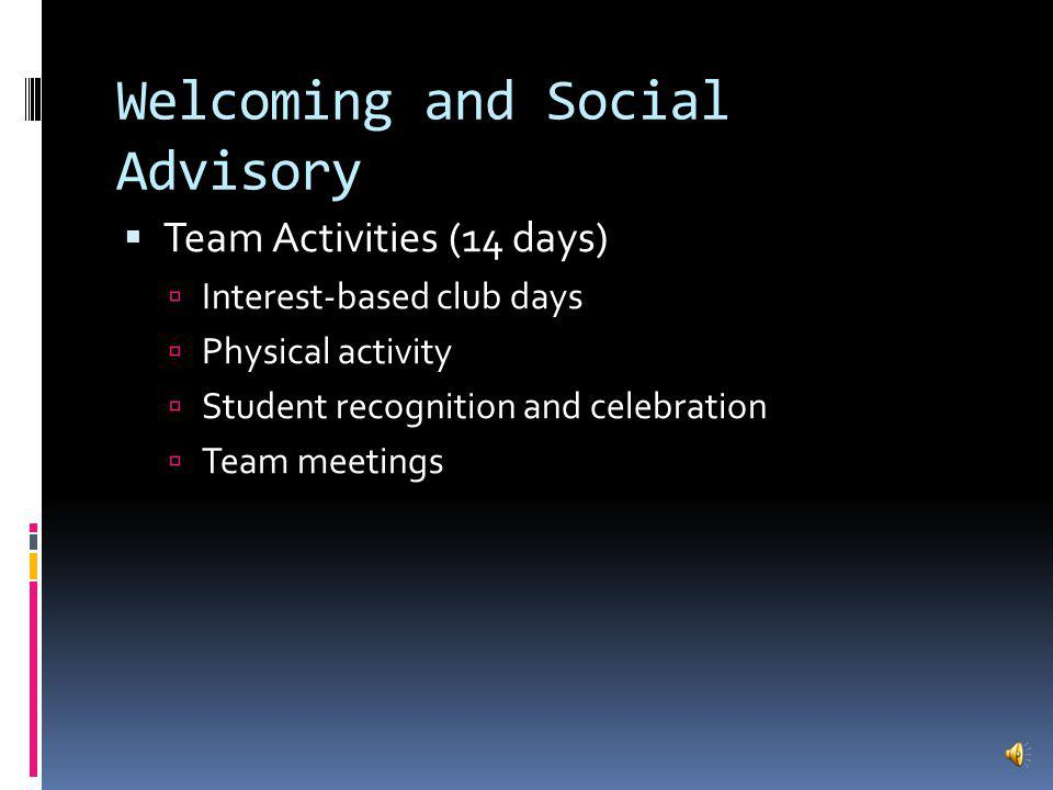Welcoming and Social Advisory Social and Emotional Learning (10 days) Team-building is the early focus Problem solving in social situations Effective communication Resiliency becomes the focus later on in the year