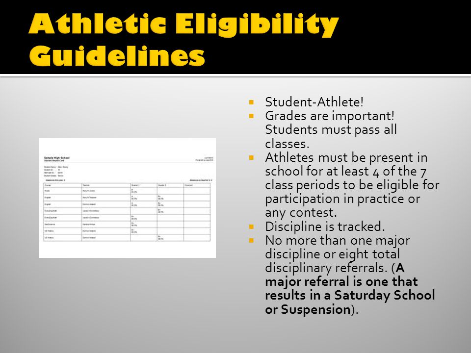 Student-Athlete. Grades are important. Students must pass all classes.