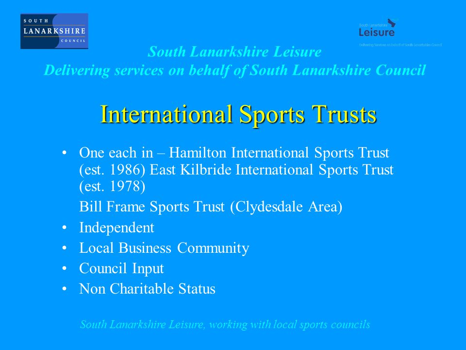 International Sports Trusts One each in – Hamilton International Sports Trust (est.