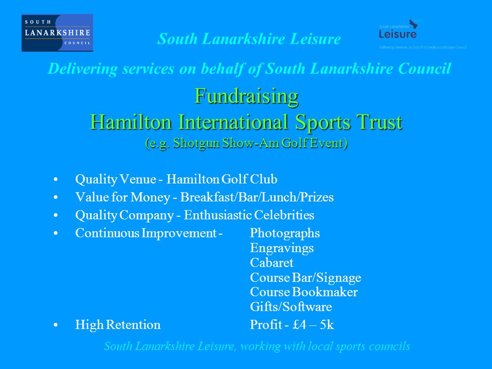Fundraising Hamilton International Sports Trust (e.g.