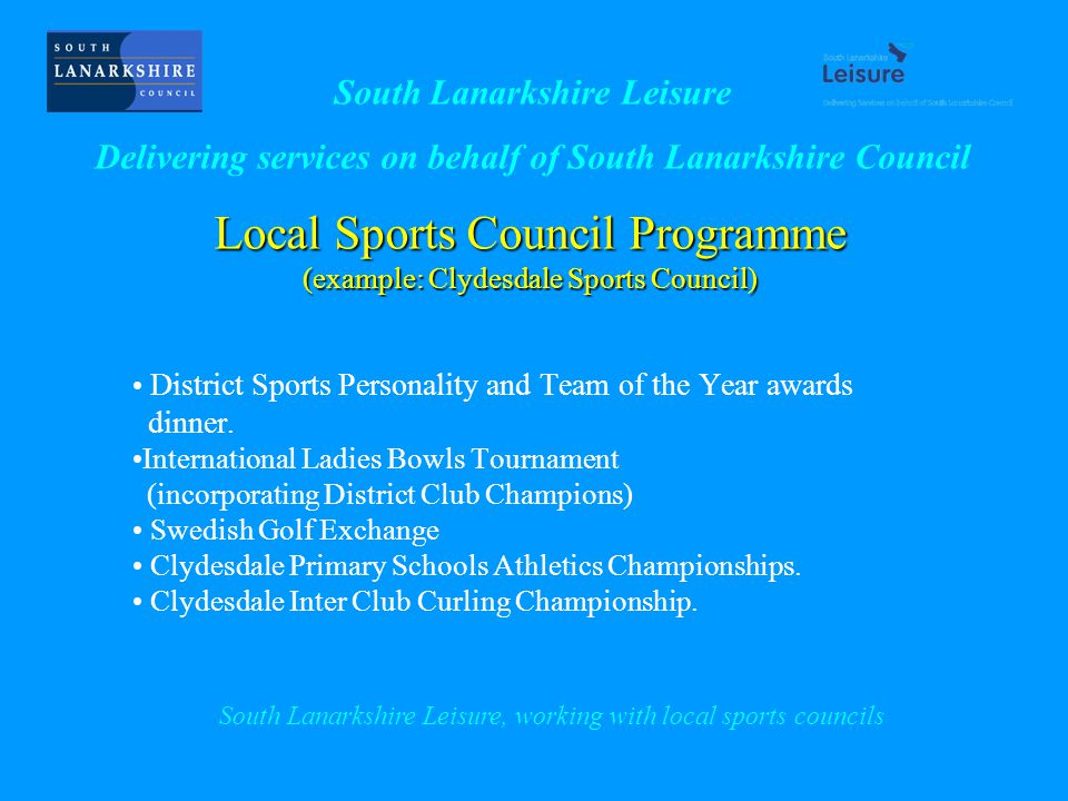 Local Sports Council Programme (example: Clydesdale Sports Council) District Sports Personality and Team of the Year awards dinner.