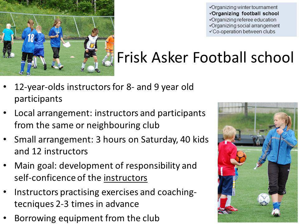 Frisk Asker Football school 12-year-olds instructors for 8- and 9 year old participants Local arrangement: instructors and participants from the same or neighbouring club Small arrangement: 3 hours on Saturday, 40 kids and 12 instructors Main goal: development of responsibility and self-conficence of the instructors Instructors practising exercises and coaching- tecniques 2-3 times in advance Borrowing equipment from the club Organizing winter tournament Organizing football school Organizing referee education Organizing social arrangement Co-operation between clubs