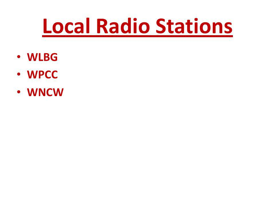 Local Radio Stations WLBG WPCC WNCW