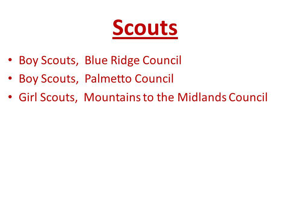 Scouts Boy Scouts, Blue Ridge Council Boy Scouts, Palmetto Council Girl Scouts, Mountains to the Midlands Council