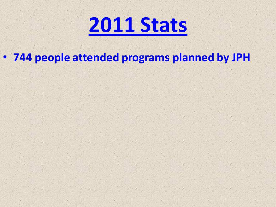2011 Stats 744 people attended programs planned by JPH