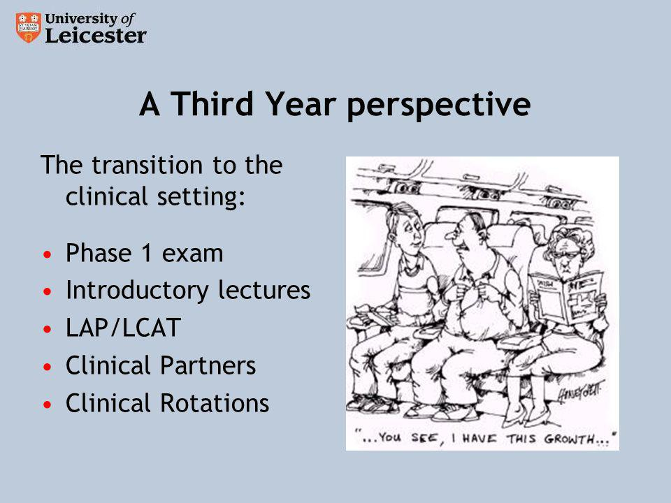 A Third Year perspective The transition to the clinical setting: Phase 1 exam Introductory lectures LAP/LCAT Clinical Partners Clinical Rotations