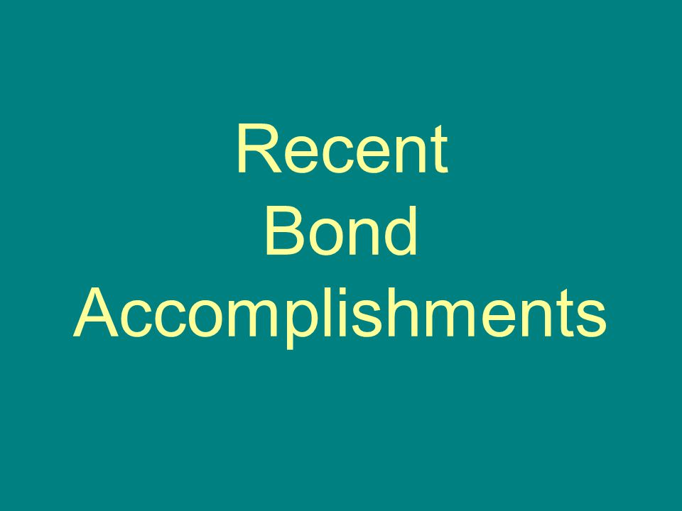 Recent Bond Accomplishments