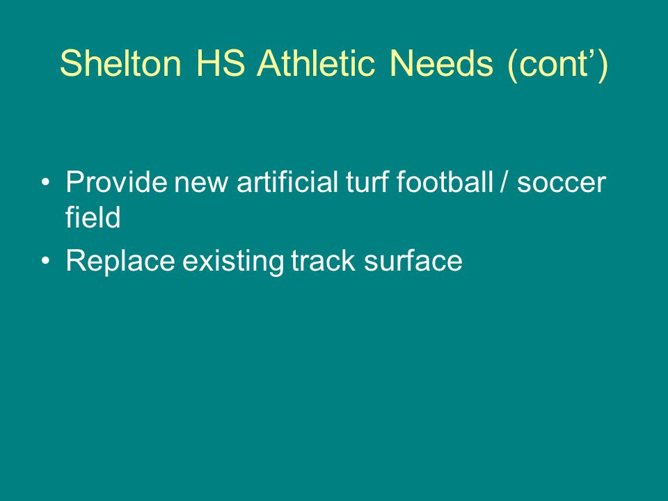 Shelton HS Athletic Needs (cont) Provide new artificial turf football / soccer field Replace existing track surface
