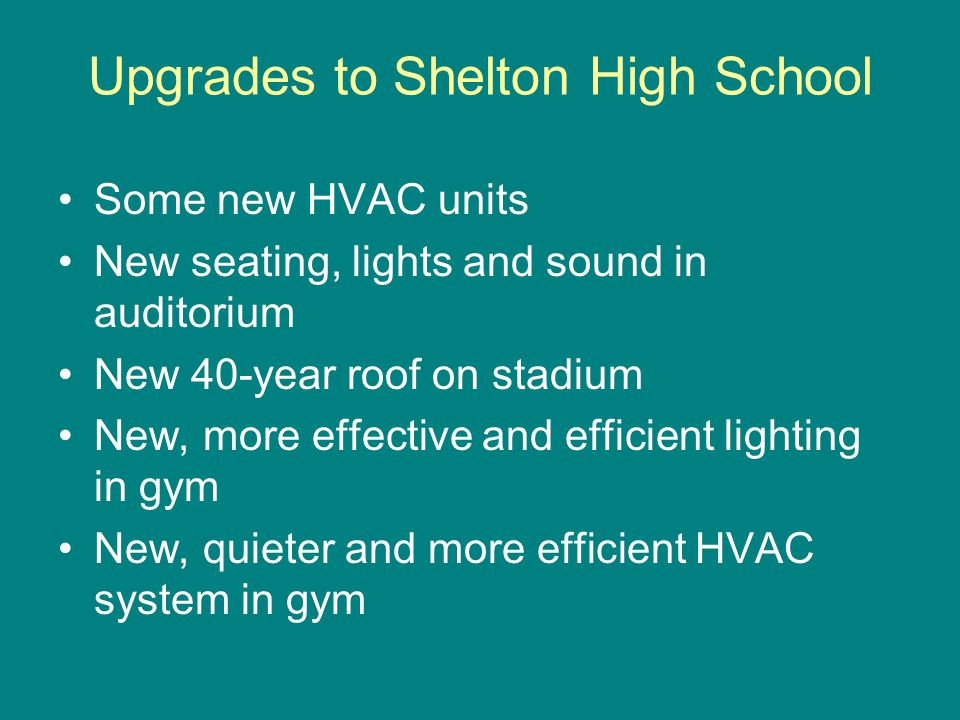 Some new HVAC units New seating, lights and sound in auditorium New 40-year roof on stadium New, more effective and efficient lighting in gym New, quieter and more efficient HVAC system in gym